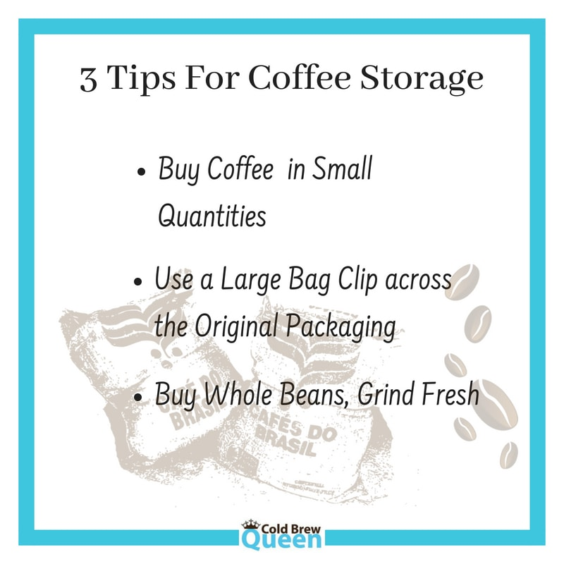 Three tips for for coffee storage text
