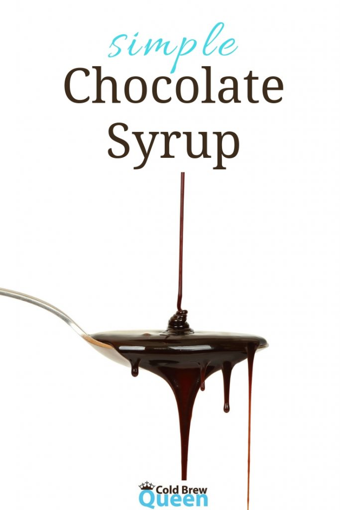 Chocolate syrup dripping from a spoon; text says simple chocolate syrup