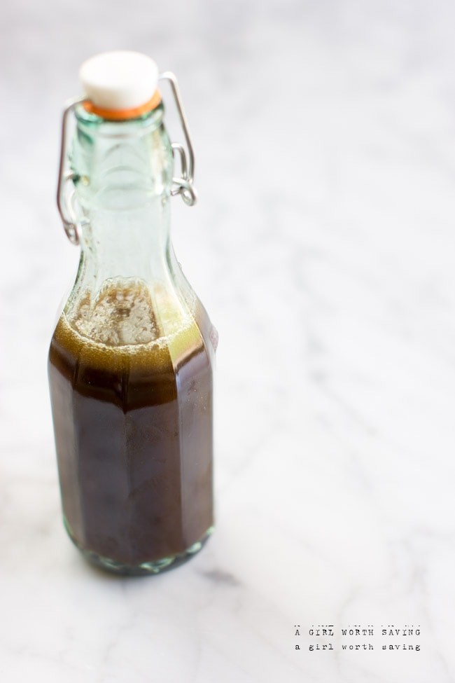 Peppermint syrup in a bottle from A Girl Worth Saving