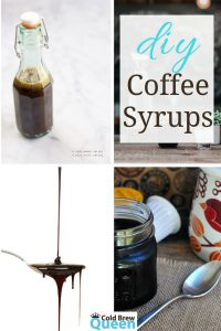 Collage of coffee syrups, text says diy coffee syrups