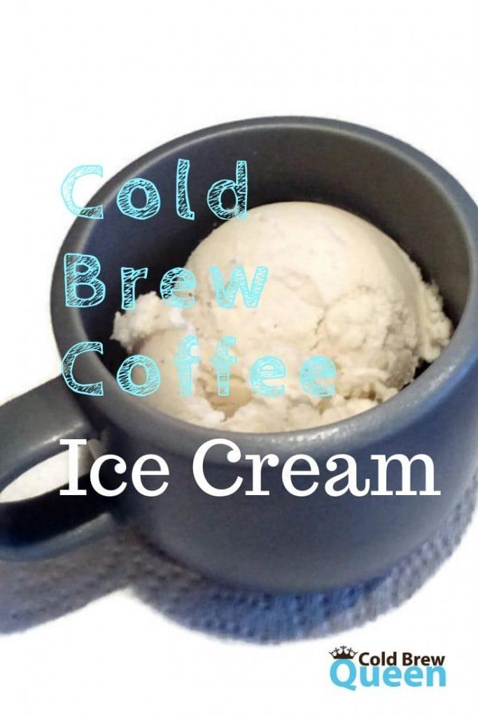 cold brew coffee ice cream in a grey mug